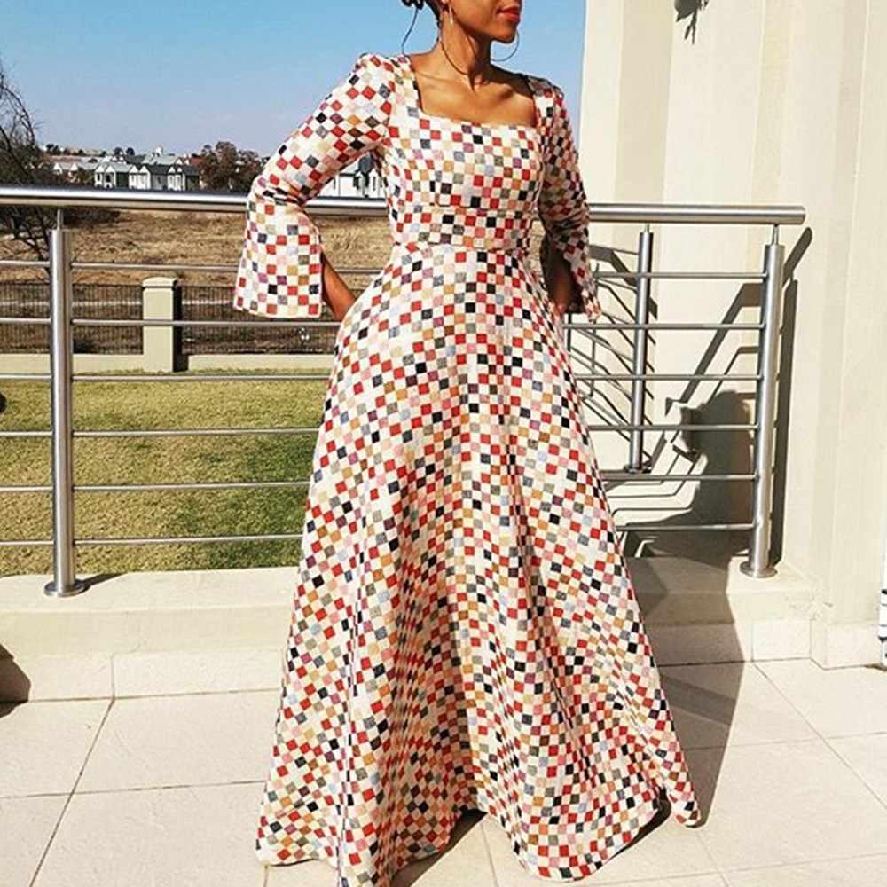 Макси платье женское элегантное клетчатое цветовое блок модный расколотый рукав винтажное квадратное длинное платье с открытой спиной Вечерние женские осенние длинные платья