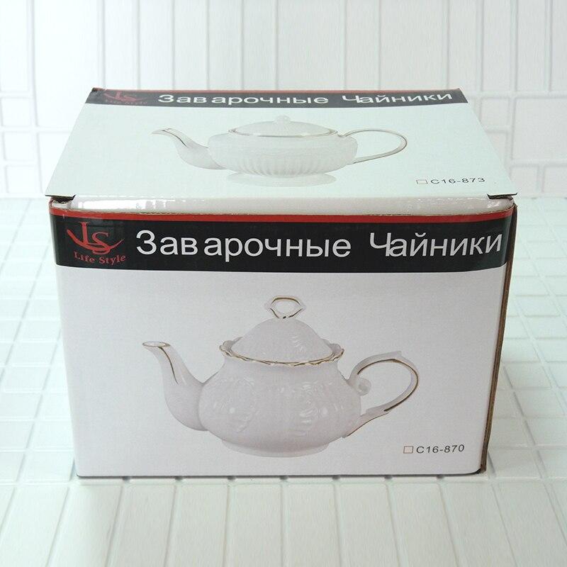 Porcelain teapot green tea puer tea high quality bone china handmade teapot puer tea Exquisite strip pattern 650ml in Teapots from Home Garden