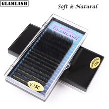 GLAMLASH Wholesale 16rows 7~15mm mix JBCD Curl natural mink eyelash extension premium individual fake false eye lashes