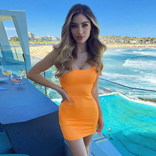 Parthea 2 Layers 2019 Women Summer Party Dress Mini Backless Tight Orange Woman Night Wear Sexy Robe Femme New
