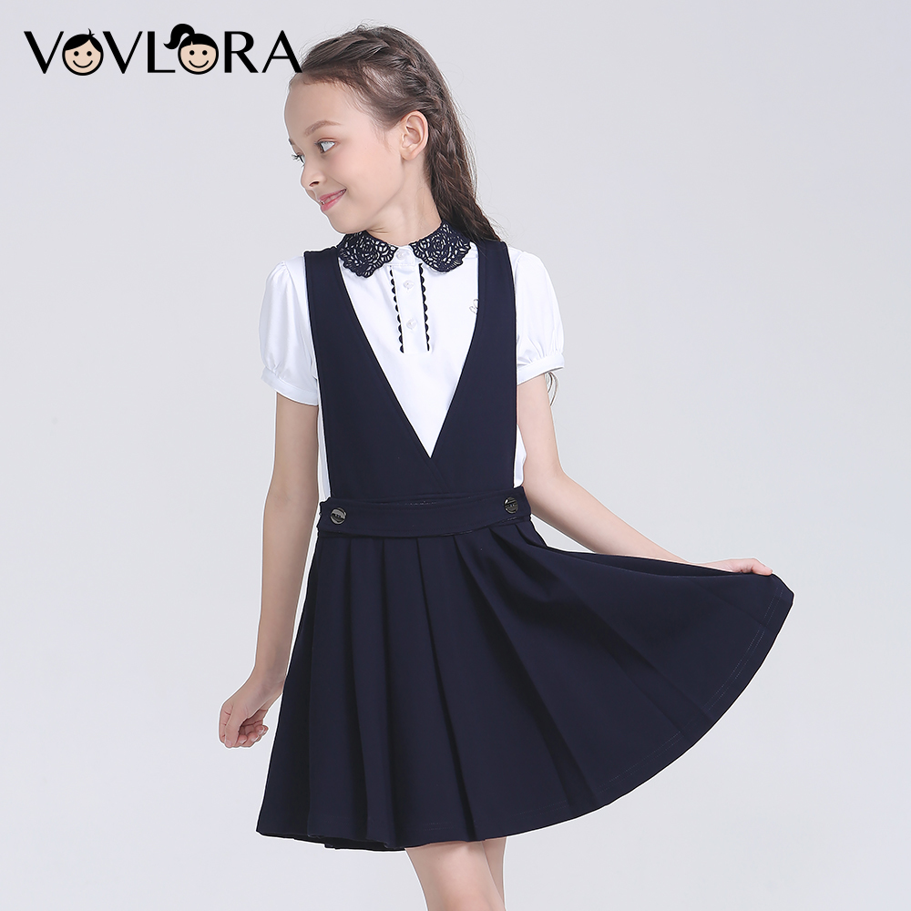 2018 Autumn School Dress For Kids Draped Suspenders Sleeveless Girls Dress Knitted School Uniform Size 7 8 9 10 11 12 Years sleeveless v neck 2018 dress school a line knitted solid kids dress girls school clothes new arrival size 9 10 11 12 13 14 years