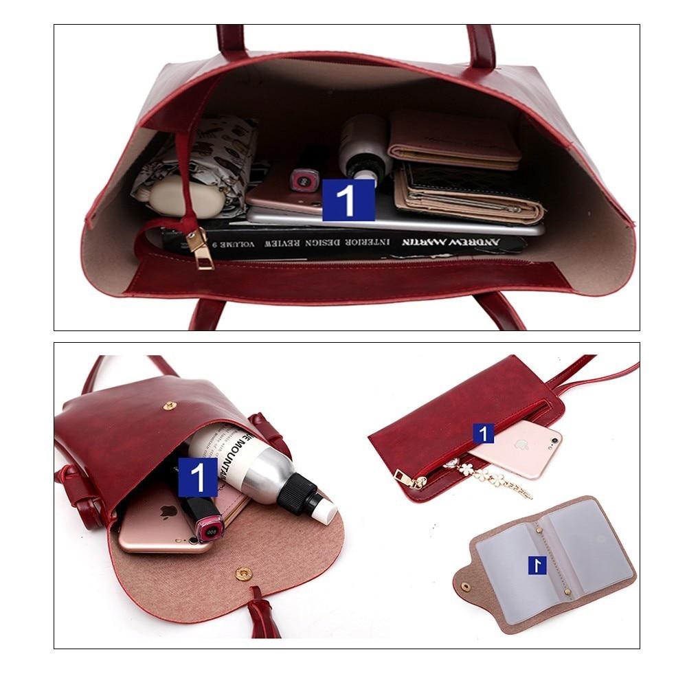 TTOU 4pcs/set Leather Bags Women Handbag Set Luxury Handbag Women Bags Designer Black Handbag Ladies Hand Bag Purse Female 6
