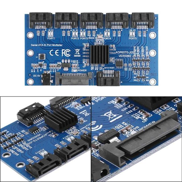 1 do 5 Port SATA3.0 karta rozszerzeń karta kontrolera płyta główna 6 gb/s mnożnik Port SATA adapter do kart rozszerzających do dysku twardego komputera