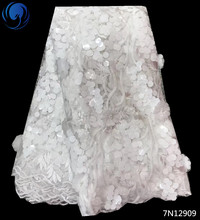 Beautifical beaded lace fabric white sequin 5 yards glitter sequins for wedding dresses 7N129
