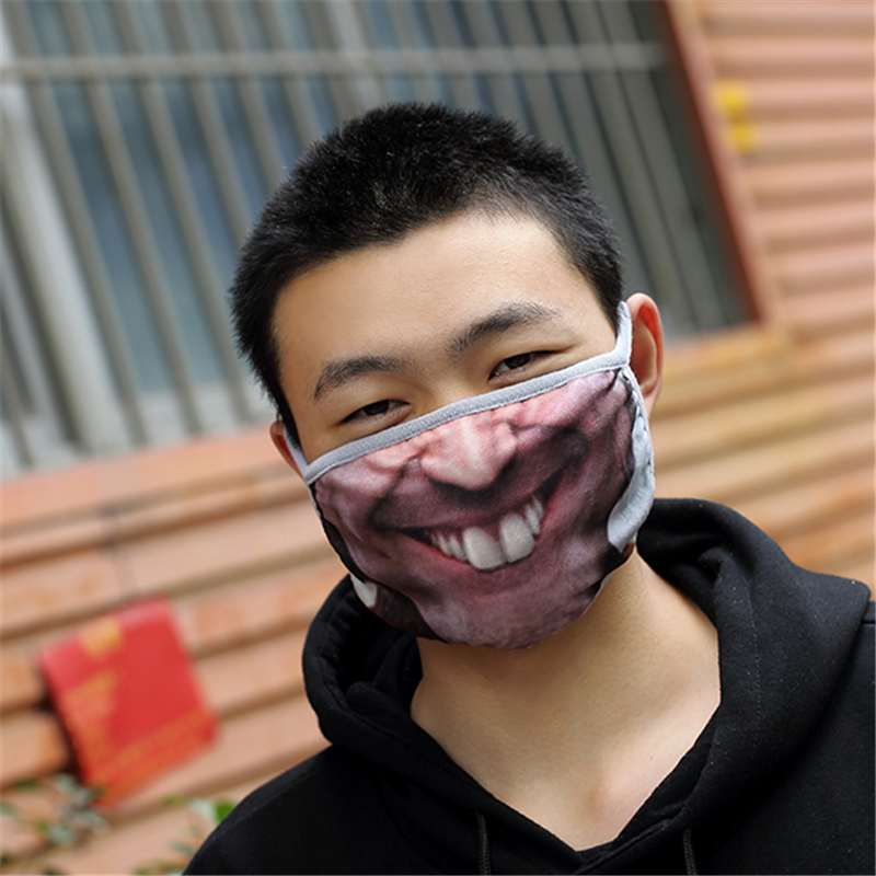 Funny 3D Human Face Mouth Mask Anti Dust Maks Mouth Protector Windproof Half Face Masks Health Care Gift