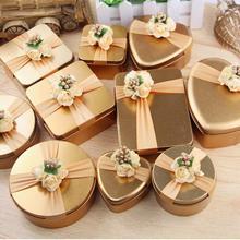 1 шт. вечерние чехол для хранения с цветочным декором жестяная подарочная коробка золотая коробка для конфет