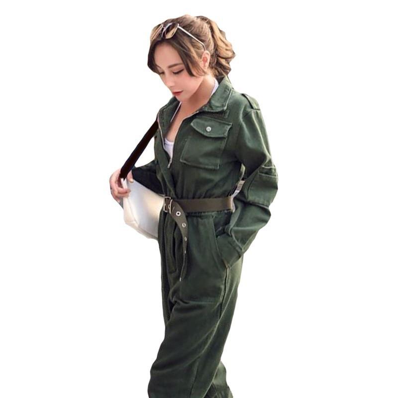 Women Vintage Workwear Slim Jeans   Jumpsuit   High Waist Street Wear belt Romper Army Green Denim Overalls Cowboy Work Suit A9209