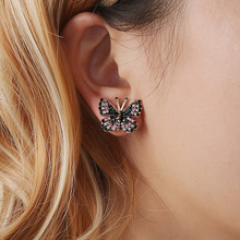 Butterfly Animal Crystal Rhinestone Zinc Alloy Trendy Romantic Multicolour Stud Earrings For Women a suit of graceful rhinestone butterfly earrings for women