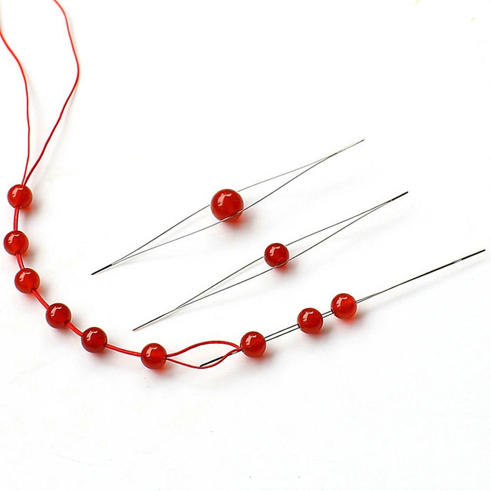 Abra a agulha do grânulo agulhas de miçangas diy suprimentos para fazer contas pinos feitos à mão jóias acessórios ferramentas 1 pçs agulhas de miçangas