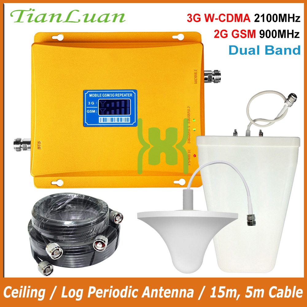TianLuan Cellular Signal Repeater 3G 2100MHz 2G 900MHz Mobile Signal Booster W-CDMA UMTS GSM Cellphone Signal Amplifier Full Set