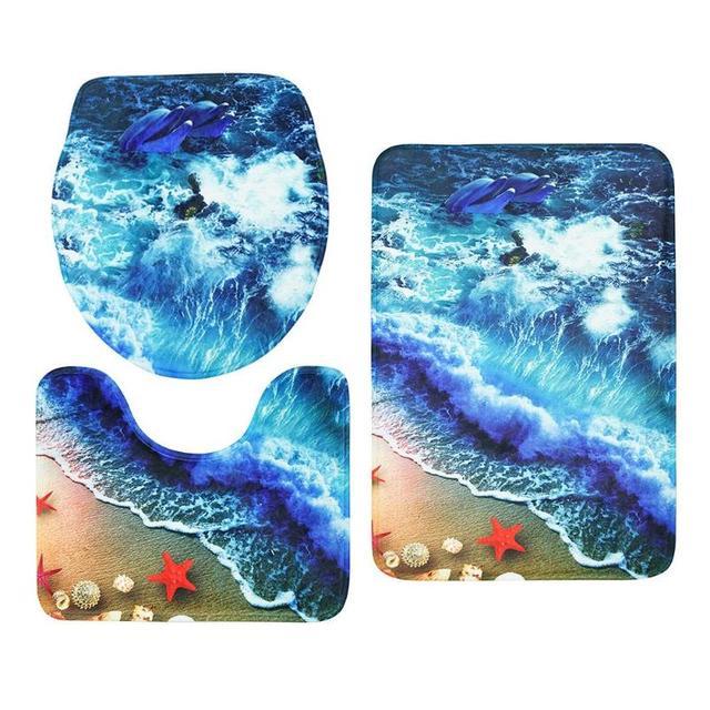 3 Piece Bath Mat Ocean Underwater World Non-Slip Bathroom Mat Set Coral Fleece Mat Washable Bathroom Toilet Carpet