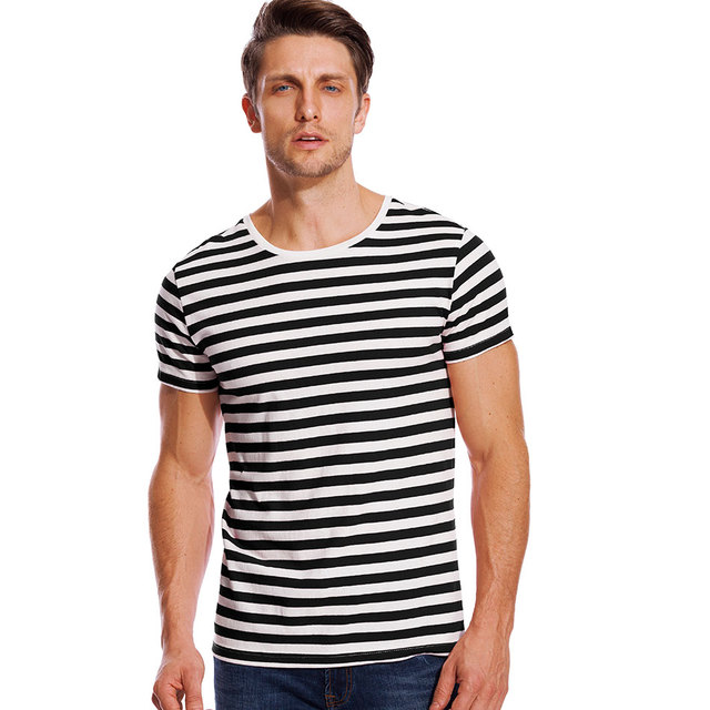6ee1de6cd2 Striped Sailor Top Tees Stripe T Shirt for Men Male Navy Russian Shirt Red  White Black Blue Boy Even Basic Wide Stripped Cosplay