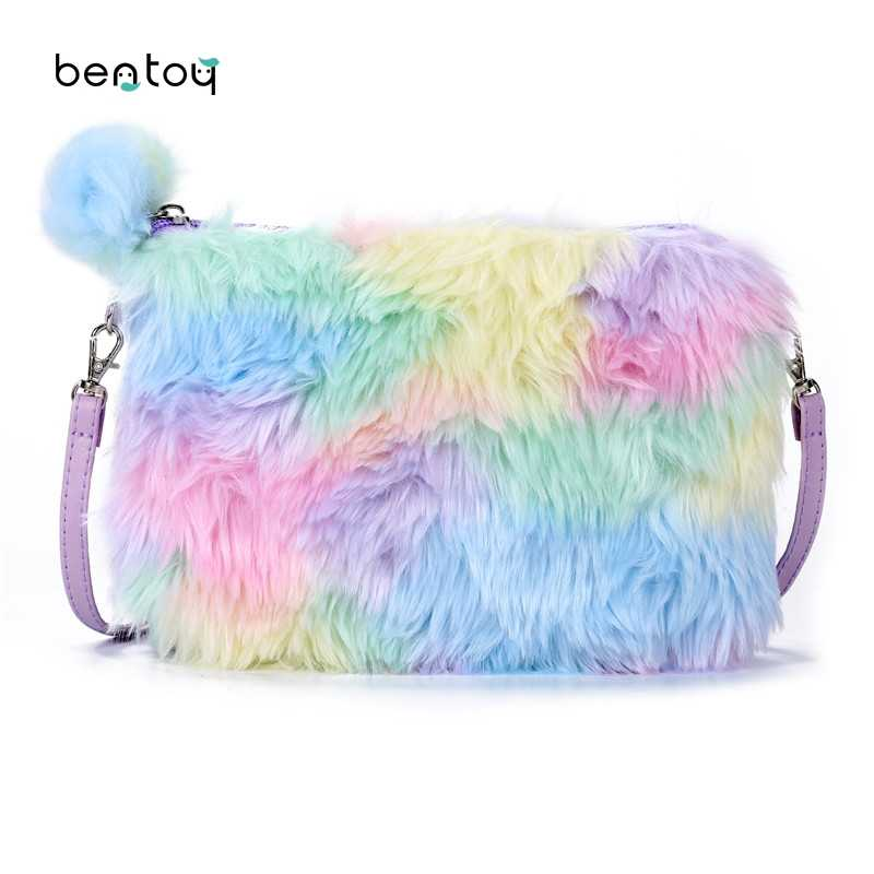 Bentoy Plush Women Shoulder Bag Cute Leather Messenger Crossbody Bag Girls Candy Cartoon Handbag Zipper Phone Organizer Purse