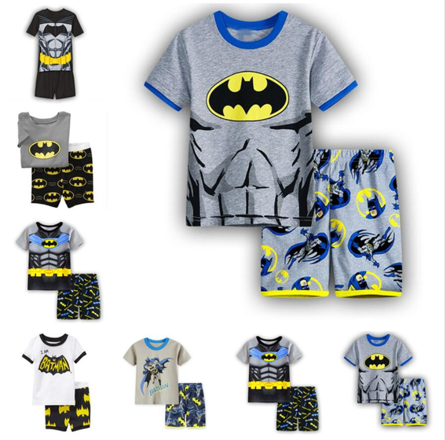 2 Pcs Cartoon Batman Sommer Pyjamas Kurzarm Set Kinder Nachtwäsche T-shirt + Hosen Qw31