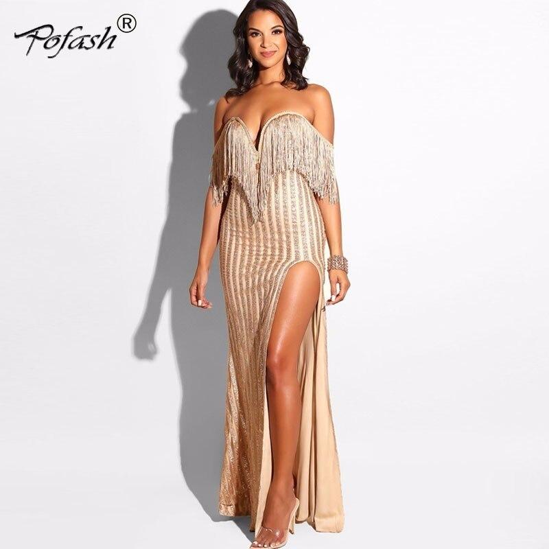 De Pofash Vintage Cou Sans Tenue Robes Femmes or Encolure V À Automne Fête Manches Moulante Paillettes Élégant Sexy Noir Gland YTtYFnr