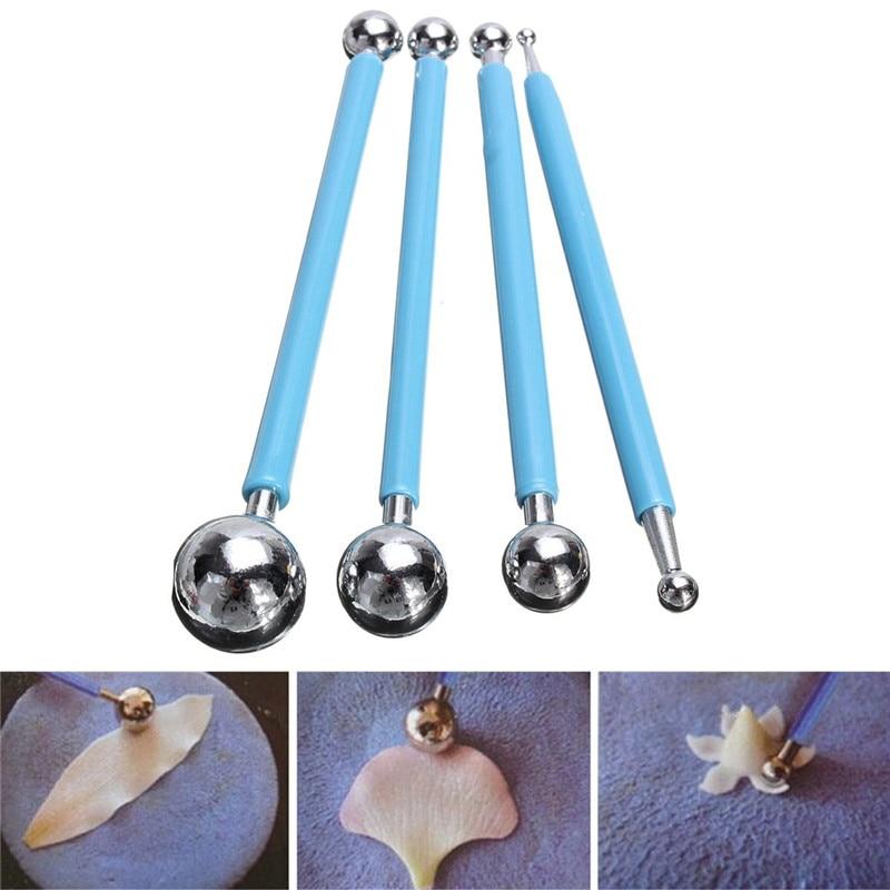 4 шт. помадка для кекса цветок украшения Глины Sugarcraft моделирование мяча резак DIY инструмент из нержавеющей стали 8 головок ручки печенья