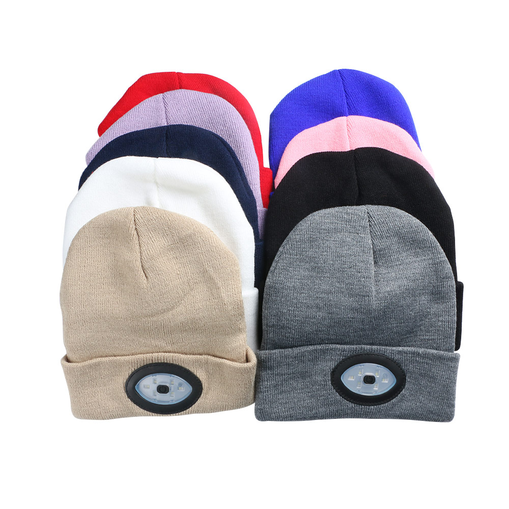 LED Knit Hat USB Rechargeable 6 Color Light Hat Keep Warm Hands Free Flashlight Portable Head Lamp Cap For Windproof Equipment