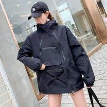#5612 Casual Hip Hop Jacket Windbreaker Women Black Loose Hood Harajuku Long Bomber Streetwear Coat Ladies Spring 2019