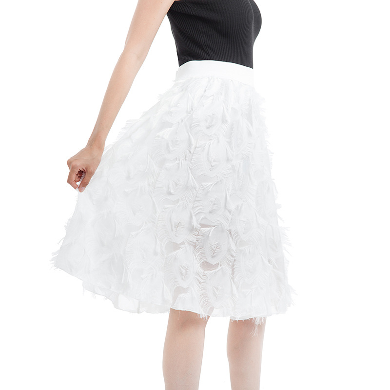 Tulle Skirts Women's Black White Pink Adult Tulle Skirt Elastic High Waist Fake Feather Tassel Pleated Midi Skirt Jupe Femme