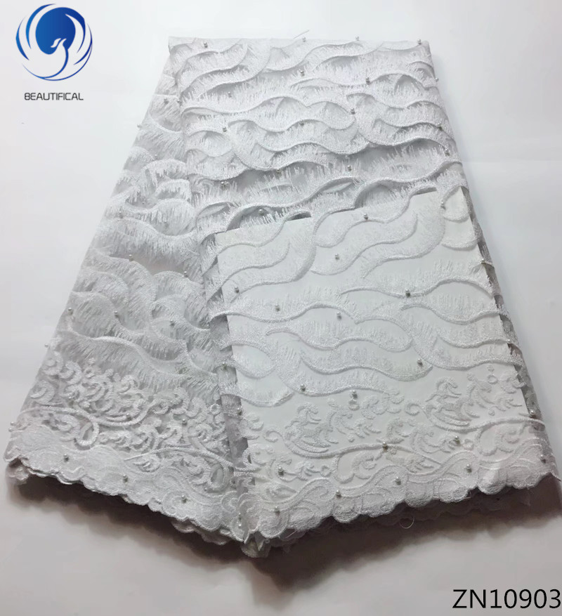 BEAUTIFICAL french tulle lace latest african lace fabrics white fabrics lace with beads for women 5yards/lot ZN109