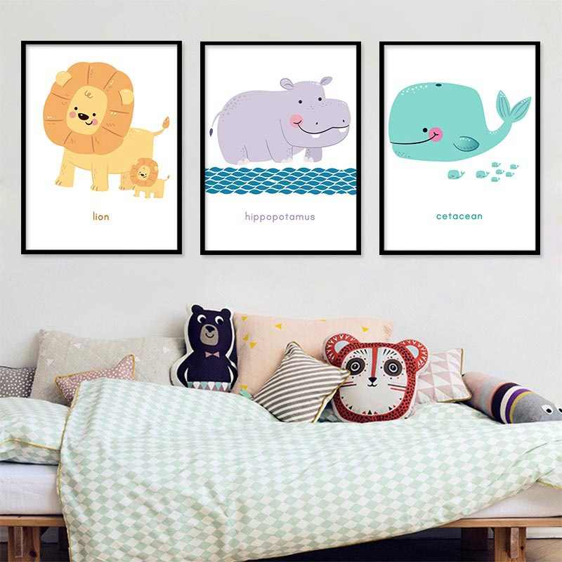 Watercolor Lion Whale Canvas Painting Baby Nursery Hippo Wall Art Poster and Print Nordic Kids Decoration Picture Bedroom Decor