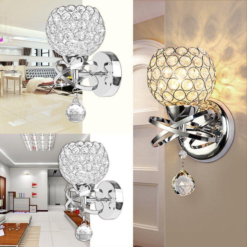Aplique de pared E14, lámpara de pared de cristal Simple y creativa, lámpara de pared de cabecera de dormitorio, luces de cristal, dorado/plateado para iluminación del hogar