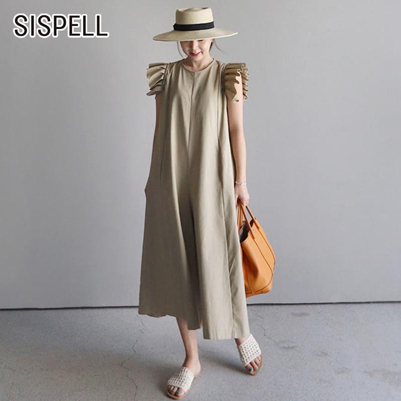 SISPELL Summer Womens   Jumpsuit   Casual Loose Wide Leg Pants Ruffles O Neck Korean Style 2018 New Fashion