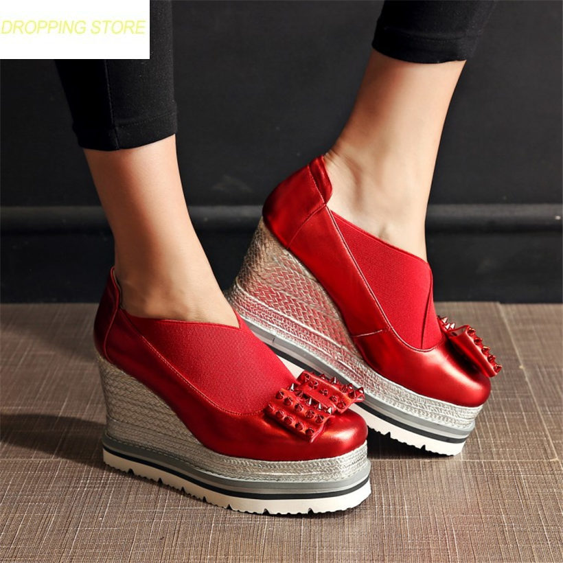 Fashion Shoes Women Cow Leather Spike Studded High Heel Party Pumps Shoes Low Top Casual Ankle Boots Punk Sneakers