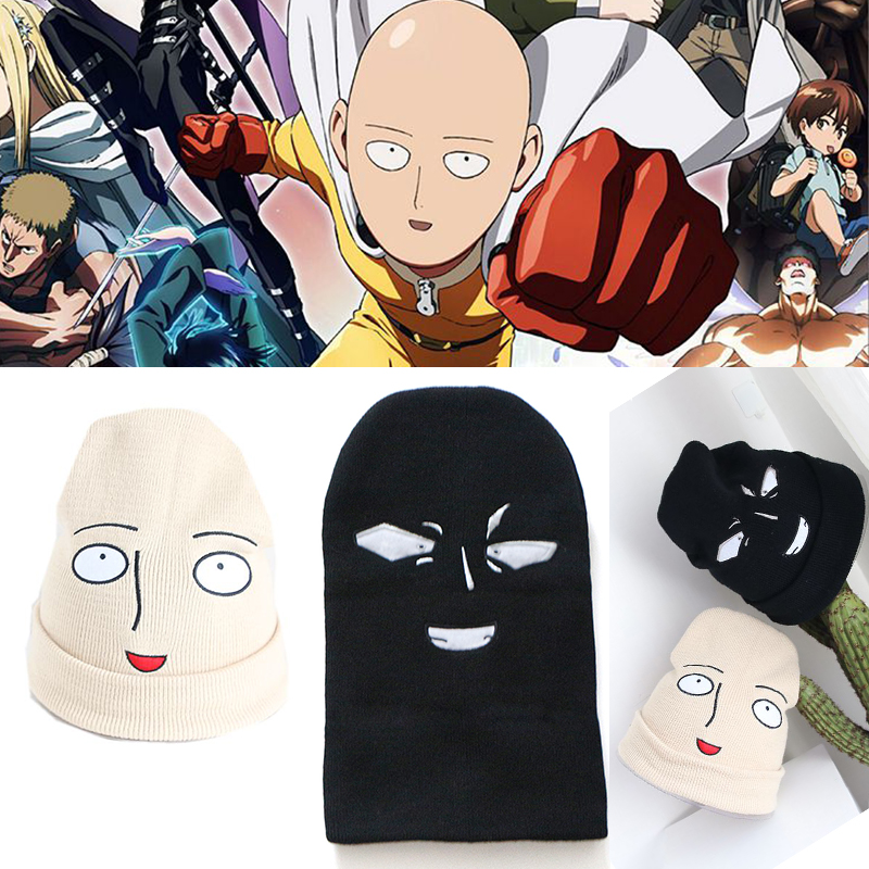 New Cute Funny Harajuku Cartoon One Punch Man Bald Saitama Embroidered Knitted Hat Women Hat Men Hat