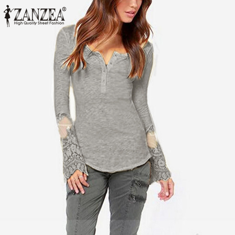 Pullover Blouses Tops Women Sexy Patchwork Lace Top Shirt Plus Size ZANZEA Casual Elegant O Neck Long Sleeve Shirts Blusas 4xl