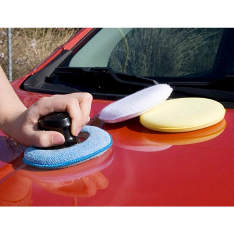 Car Beauty Waxing Sponge Block Sponge Pad With Handle Car Plating Crystal Polishing Hand Tool Kit Polish Applicator Pads