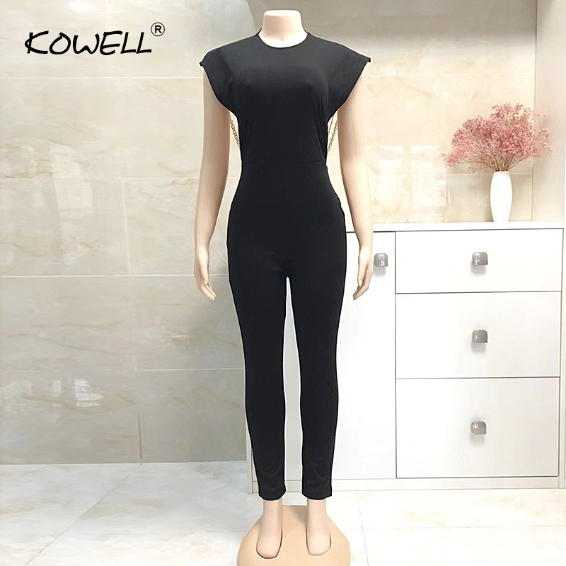 2019 Hot Sale Women Skinny Backless Chain Jumpsuit,it;s Verr Sexy And Beautiful,if You Like It Please Don't Miss This Chance.(China)