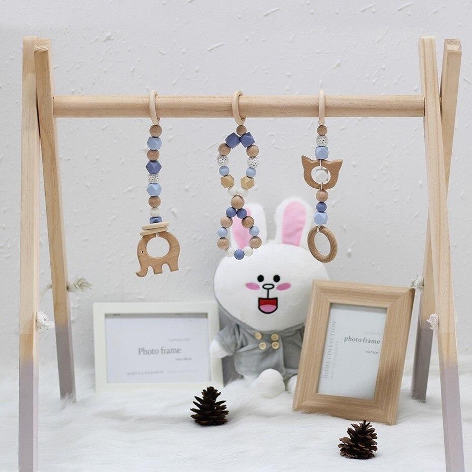 Nouveau nordique bébé chambre décor jouer Gym jouet en bois pépinière sensorielle jouet cadeau infantile chambre vêtements Rack accessoires photographie accessoires