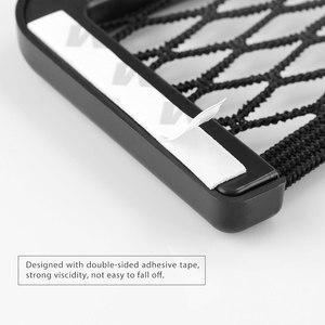 Image 4 - Onever Bolso Universal pequeño lateral para asiento de coche, organizador de bolsillo de malla con cordón, para billetera, teléfono, red