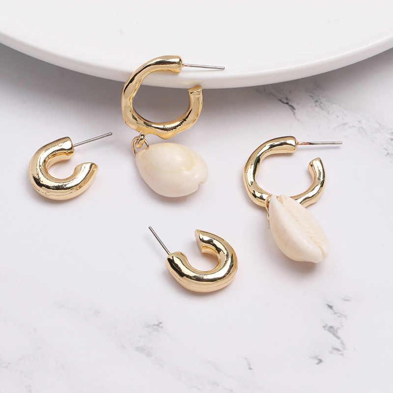 Trendy Sea Shell Earrings for Women ZA Irregular Drop Earrings Gold Conch Freshwater Pearl Fashion Jewelry Party Gift Wholesale