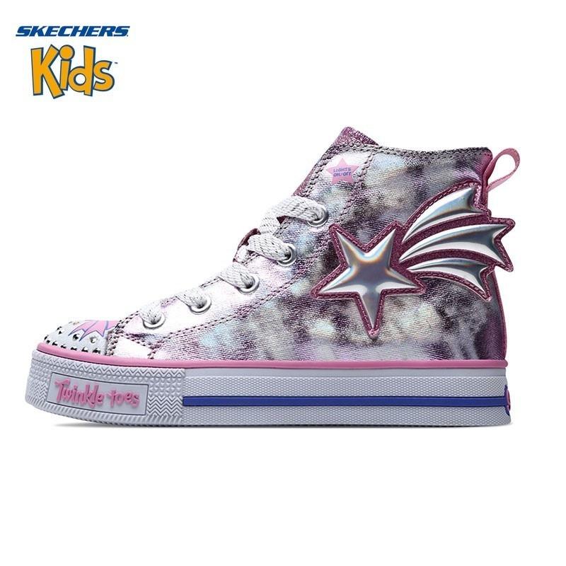 SKECHERS Skye странная девушка обуви новый шаблон прекрасный флэш обувь высокая помощь будет ребенок кроссовки 10972L
