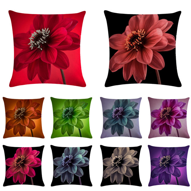 RUBYLOVE 45X45cm Beautiful Flower Printing Home Decor Sofa Car Seat Decorative Cushion Cover Pillow Case