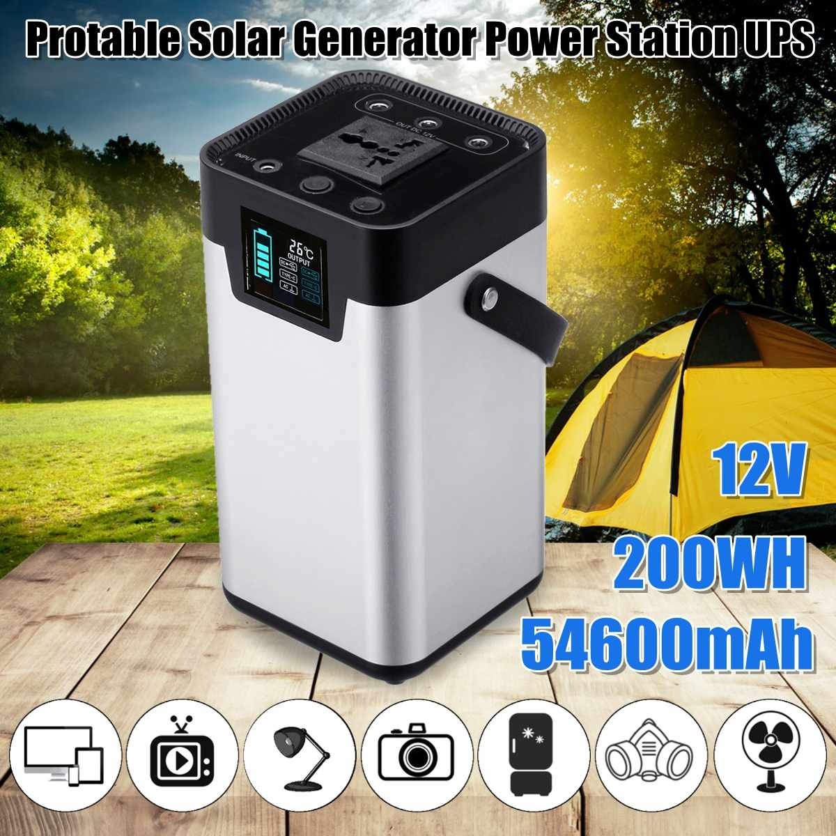 цена на 12V 200W/200Wh 54600mah Portable Solar Generator Power Station UPS Energy Storage Inverter Power Supply Outdoor Home 110V/220V