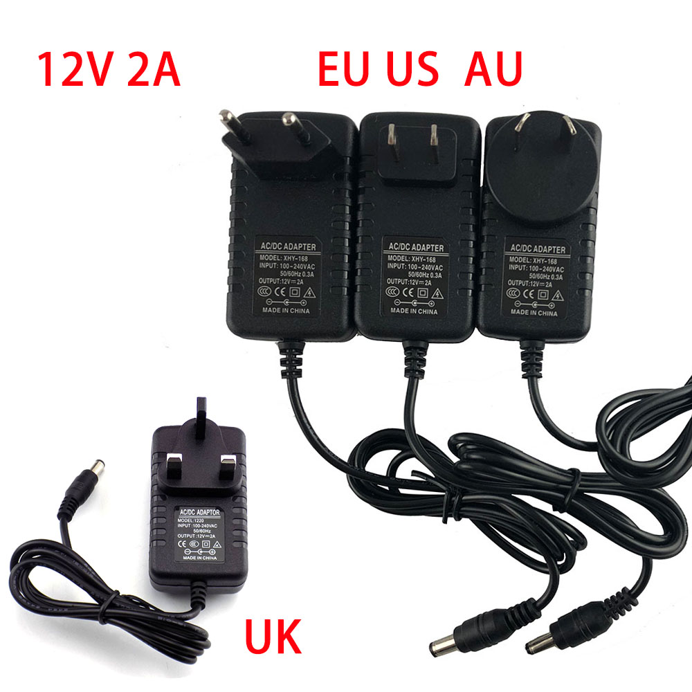 universal AC DC <font><b>12v</b></font> 2A <font><b>2000ma</b></font> wall charger <font><b>adapter</b></font> EU UK AU US pLUG <font><b>power</b></font> supply for led strip light lighting image
