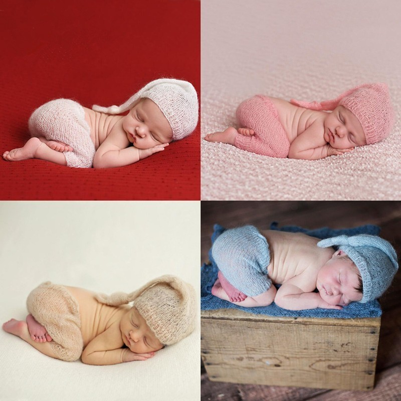 Newborn Photography Props Handmade Baby Clothes Mohair Hats+Pants Set Photography Babies Accessories Baby Photo Props Accessory