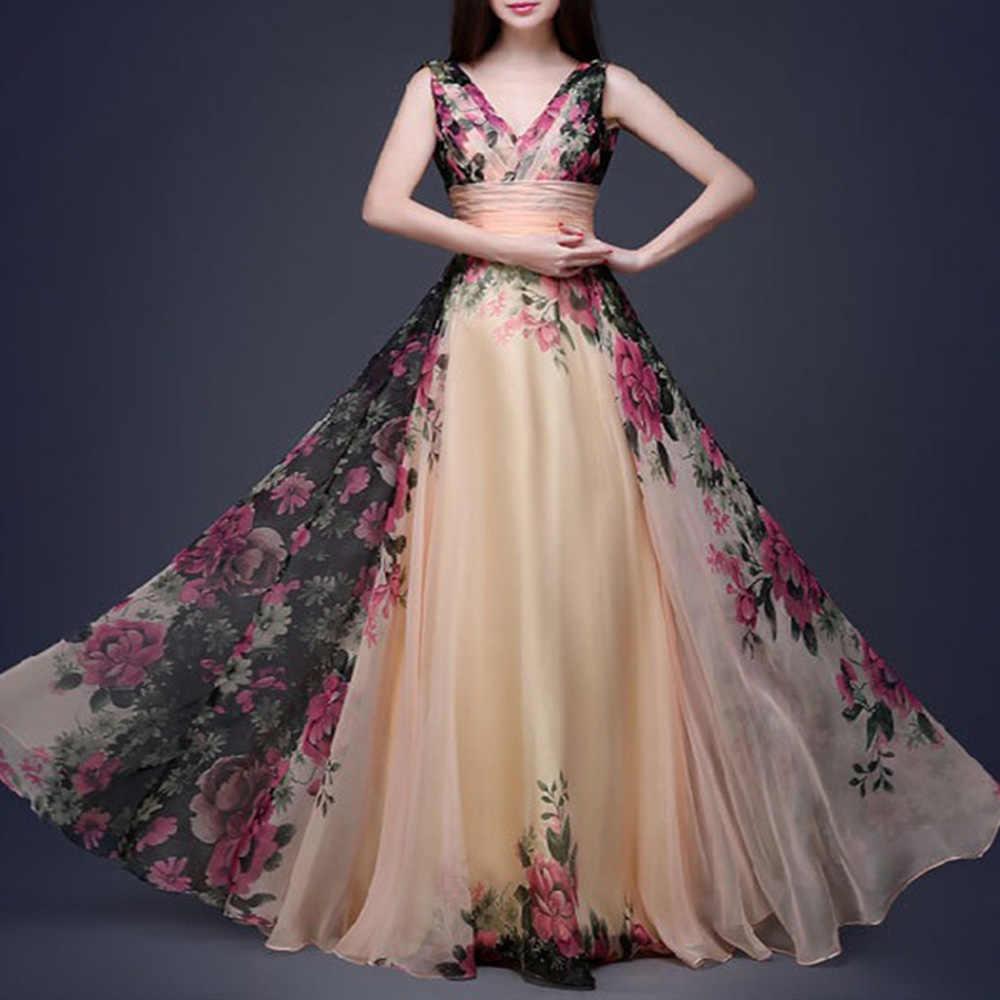 Женское длинное вечернее шифоновое платье с v-образным вырезом, вечернее платье с цветочным узором, элегантное сексуальное платье с тонкой талией, большие свинг-платья, Дамский сарафан, vestido