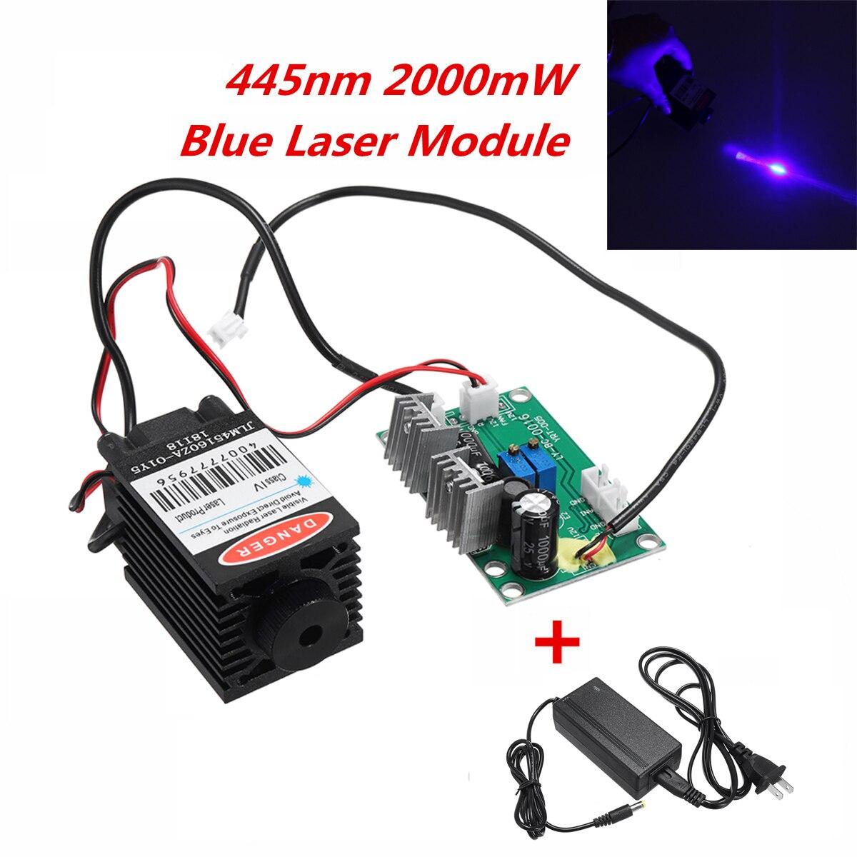 Фокус высокой мощность 445nm 450nm 2000 МВт Вт 2 Вт синий лазерный модуль ttl драйвер платы для станок с ЧПУ лазерная гравировка машины