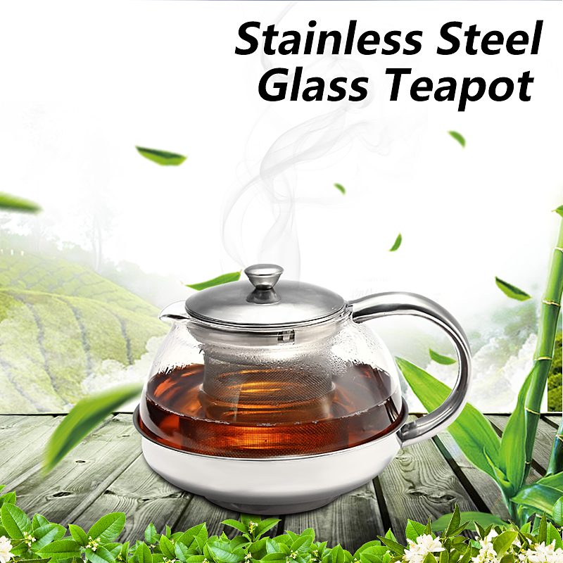 500-1100ML Glass Teapot Large Stainless Steel Coffee Herbal Kettle with Infuser Perfect for any Kitchen or Office Removal Infuse500-1100ML Glass Teapot Large Stainless Steel Coffee Herbal Kettle with Infuser Perfect for any Kitchen or Office Removal Infuse