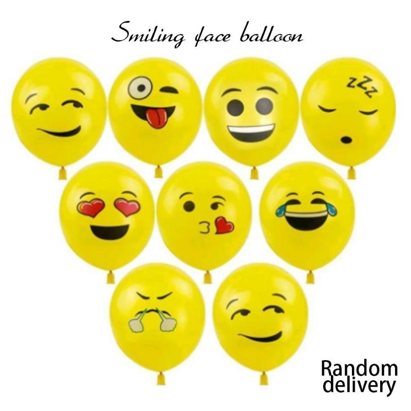2019 New Style Yellow Smiling Face Expression Emoji Latex 12 Inch Balloons 10pcs Birthday/wedding Supply Kids Funny Inflatable Toy Party Decor Inflatable Bouncers