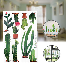 2Pcs/set Cactus Wall Sticker PVC Decorative Background Stickers Cupboard Glass Home Decoration Mayitr