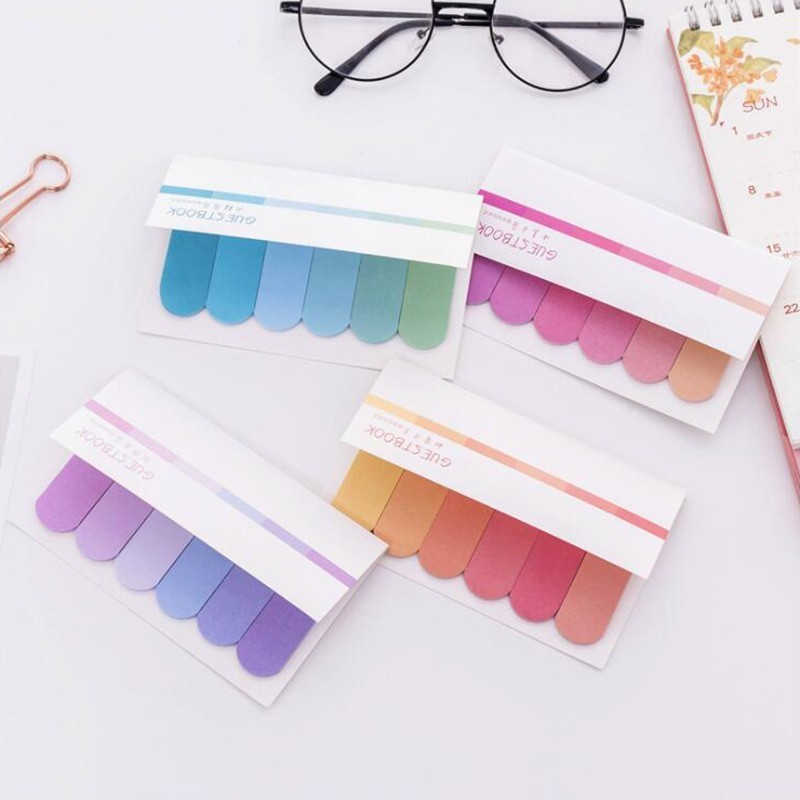 Janpenese Memo Pads Self-adhesive Adhesive Notes Six Colorful Sticky Notes Office Stationery And School Supplies 1PCS / 120 Page