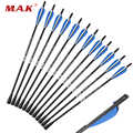 6/12/24pcs Mixed Crossbow Carbon Arrow 20 inch Length OD 8.8mm with Rubber Arrow head for Hunting Shooting