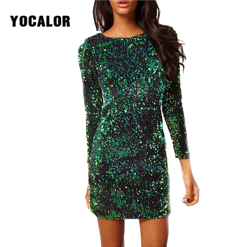 US $15.87 46% OFF 2019 Women Party Short Summer Sequin Paillettes Skater  Dress Girl Long Sleeve Plus Size Vestidos Mujer Dresses Female Vestido-in  ...