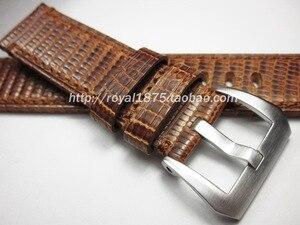 Yeni tasarım yüksek kaliteli Lizard cilt el yapımı 22mm bileklik Vintage hakiki deri Watchband İzle sapanlar erkek markalı izle