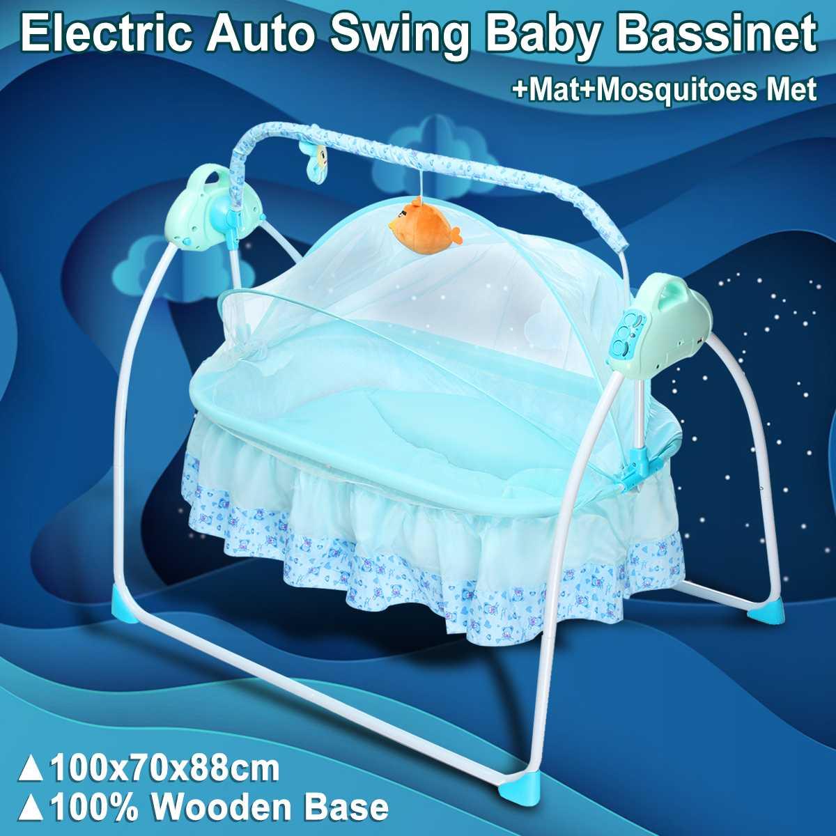 Électrique grand espace bébé berceau berceau infantile Rocker Auto-Swing sommeil lit bébé 5.5 V